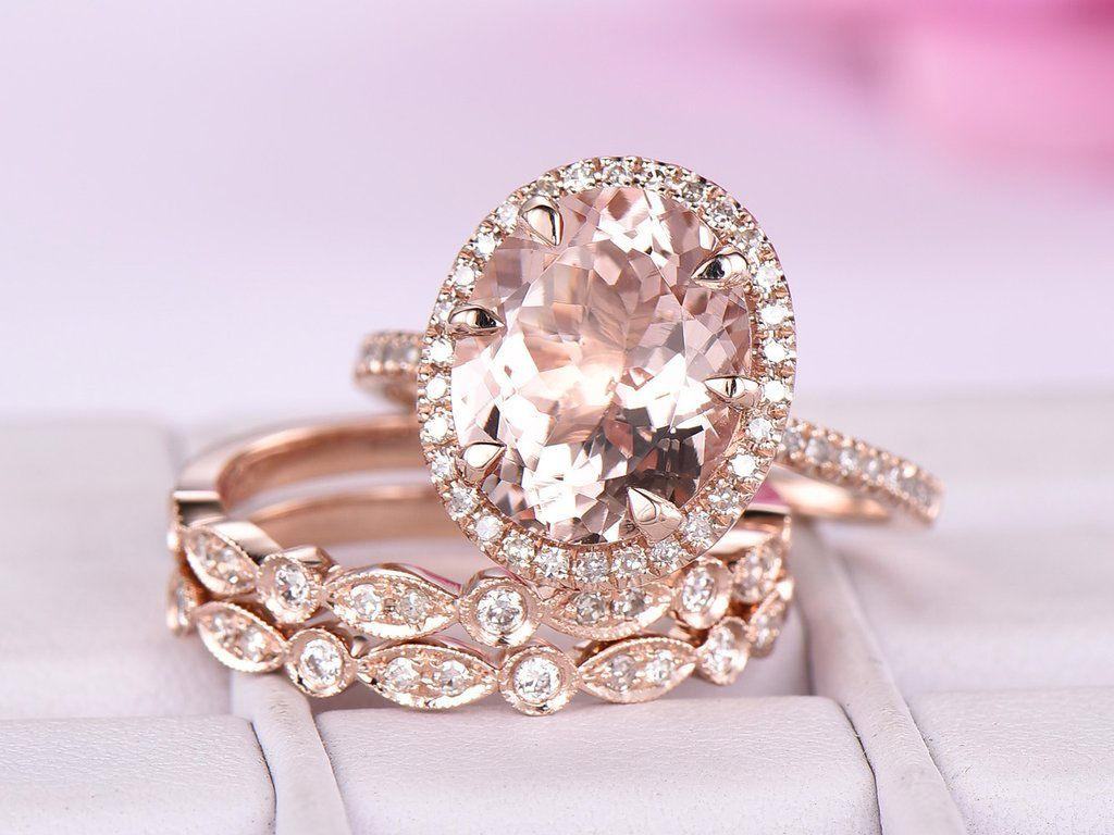 Oval Morganite Engagement Ring Trio Bridal Sets Diamond Wedding Band ...