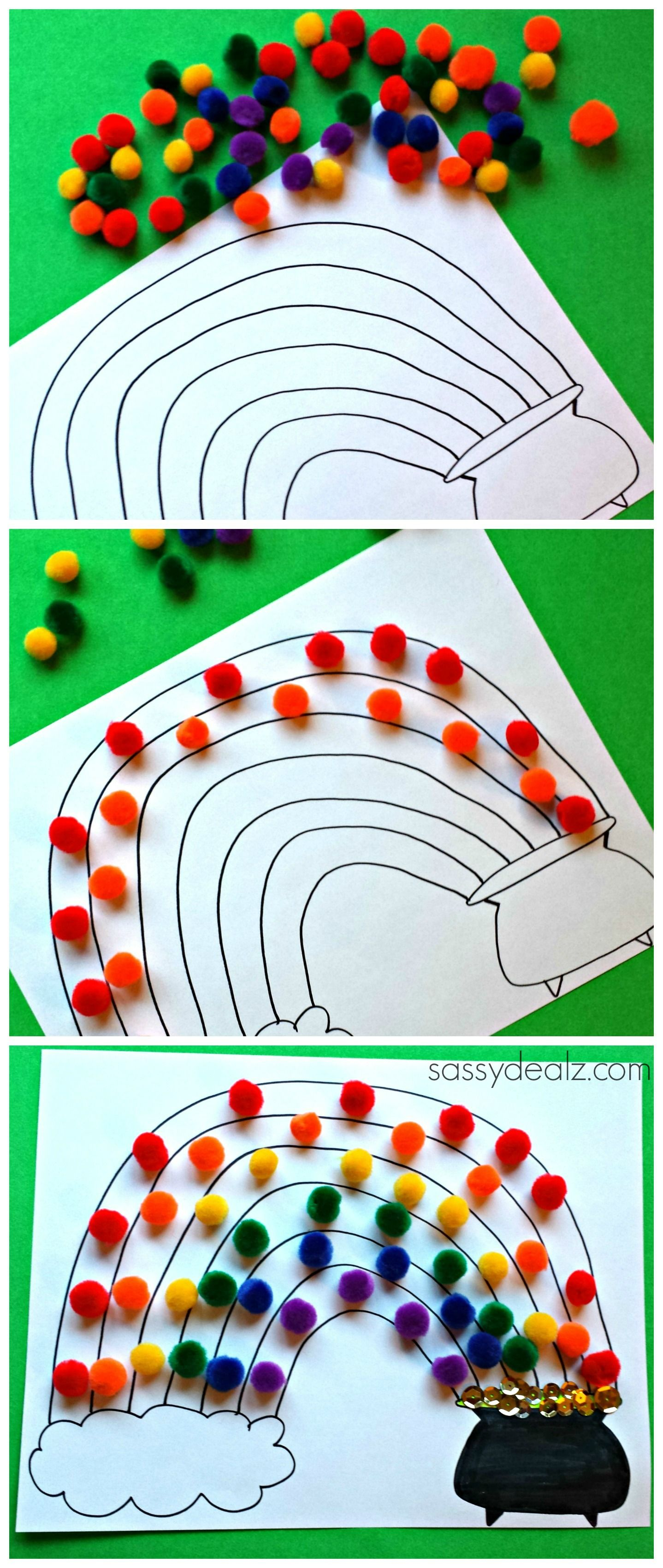 Pom Pom Craft for Kids! Great for a St. Patrick's day art project! #DIY #Rainbows #Pot of gold #free printable coloring page | http://www.sassydealz.com/2014/02/pom-pom-rainbow-craft-st-patricks-day-free-printable.html