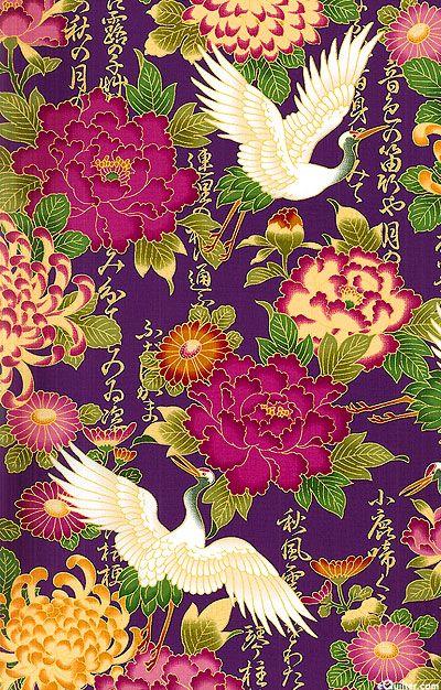 Cranes Amp Peonies Iris Purple Gold Asian Designs