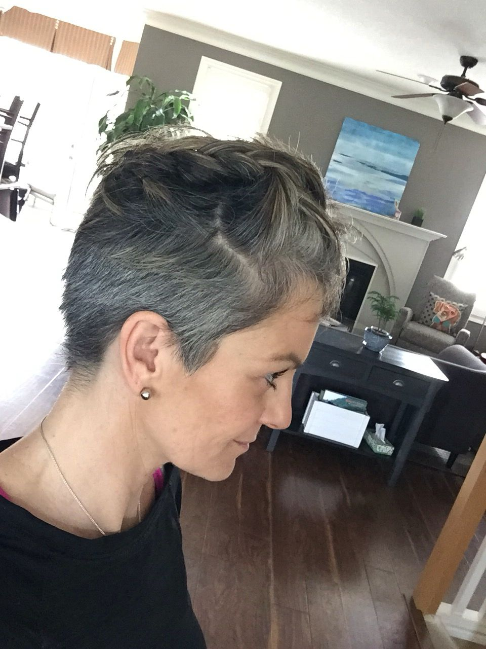 11 months into my grow out!  Gray hair growing out, Short grey