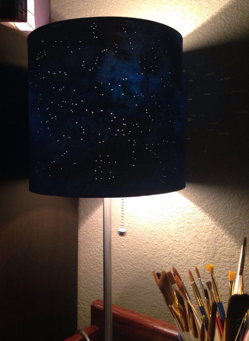 Diy Constellation Lamp White Lamp Shade Acrylic Paint And A Push Pin Diy Lamp Shade Painting Lamp Shades Diy Table Lamp