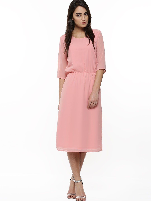 5b51232d1787 FEMELLA Elasticated Waist Midi Dress - Buy Women s Shift Dresses online in  India