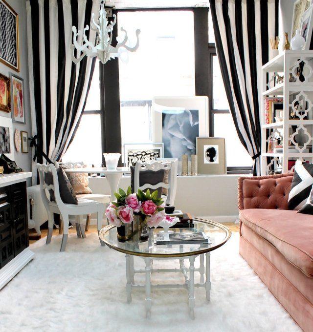 embellissez lespace maison 50 ides dco salon originales - Rideaux Pour Salon Noir Blanc