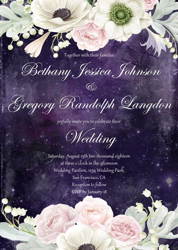 Vintage Wedding Invite Set Retro Watercolor Flowers Romantic