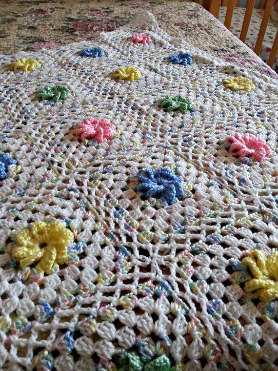 Crochet Blanket, Baby Blanket, Toddler Blanket Granny Square, Floral ...