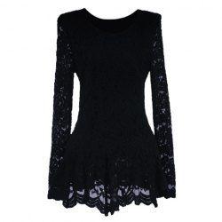 a4eb3cbc5a397 Wholesale Elegant V-Neck Openwork Long Sleeves Flouce Lace Blouse For Women  (IVORY