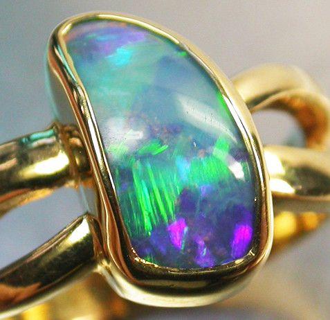 DOUBLET  OPAL RING SIZE 7.5    18 K GOLD   CK 236  doublet opal  gold ring,  opal ring ,  gem opal ring , gold jewlery