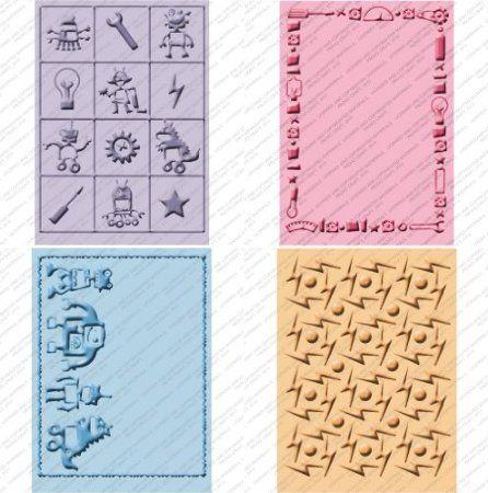 CUTTLEBUG embossing folders set of 4 ROBOTZ REDUCED