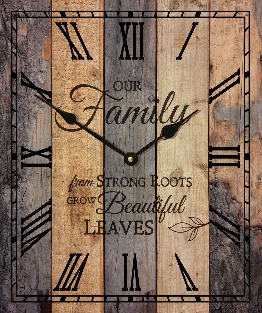 Our familyu rustic wood wall sign clock x