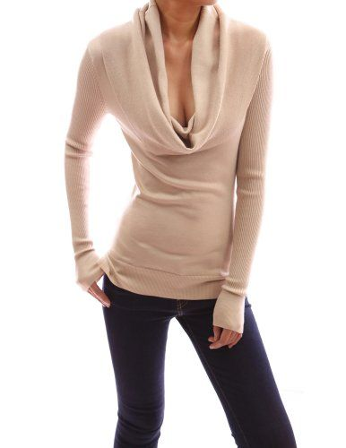 PattyBoutik Cowl Neck Ribbed Sleeves High-low Hem Sweater Blouse ...