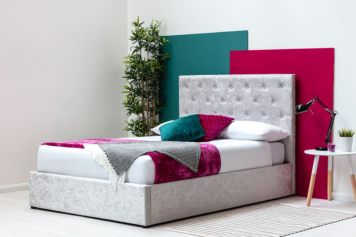 Crushed Velvet Ottoman Storage Bed Frame with Tufted