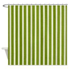 Chartreuse Skinny Stripes Shower Curtain