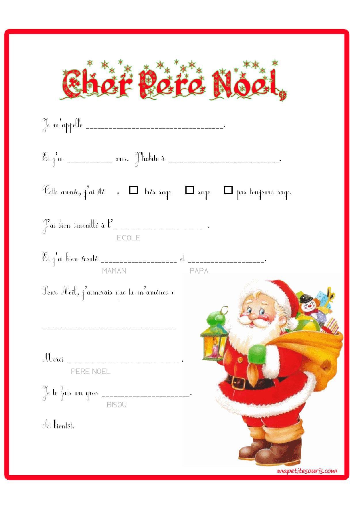 Liste Pour Le Pere Noel : liste, Lettre, Père, Compléter., Super, Petits, Maternelle, Commencent, écrire., J'adore…, Noel,, Modele, Imprimer