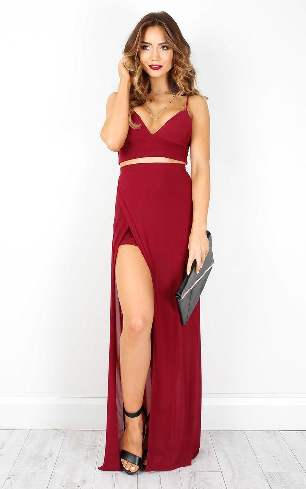 Showpo Body Language two piece set in wine - 10 (M) Maxi Dresses ...