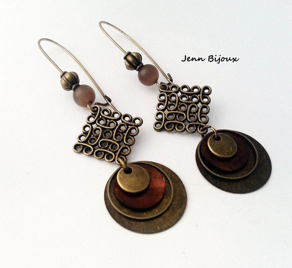 Boucle d'oreille anneau bronze
