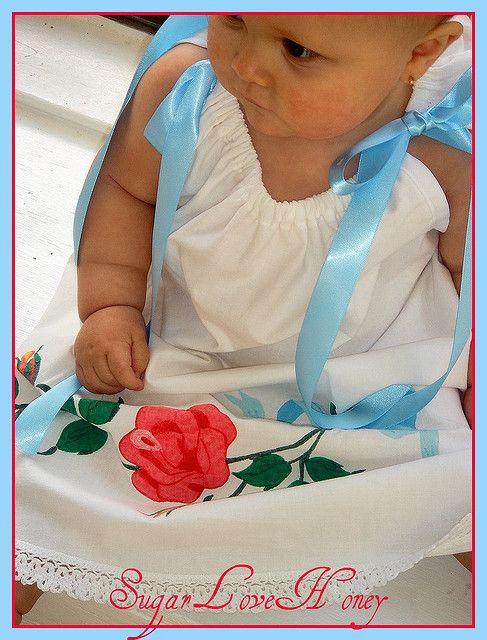 Vintage English Rose Pillowcase Dress