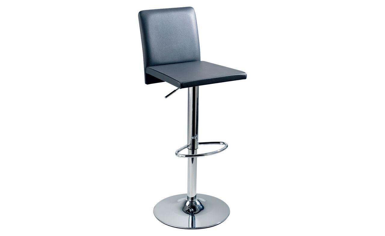 Tea time - Tubular chrome bar stool. Seat in Vinyl. In 9 colours. DIMENSIONS : L = 41 / P = 44 / H = 57 à 80