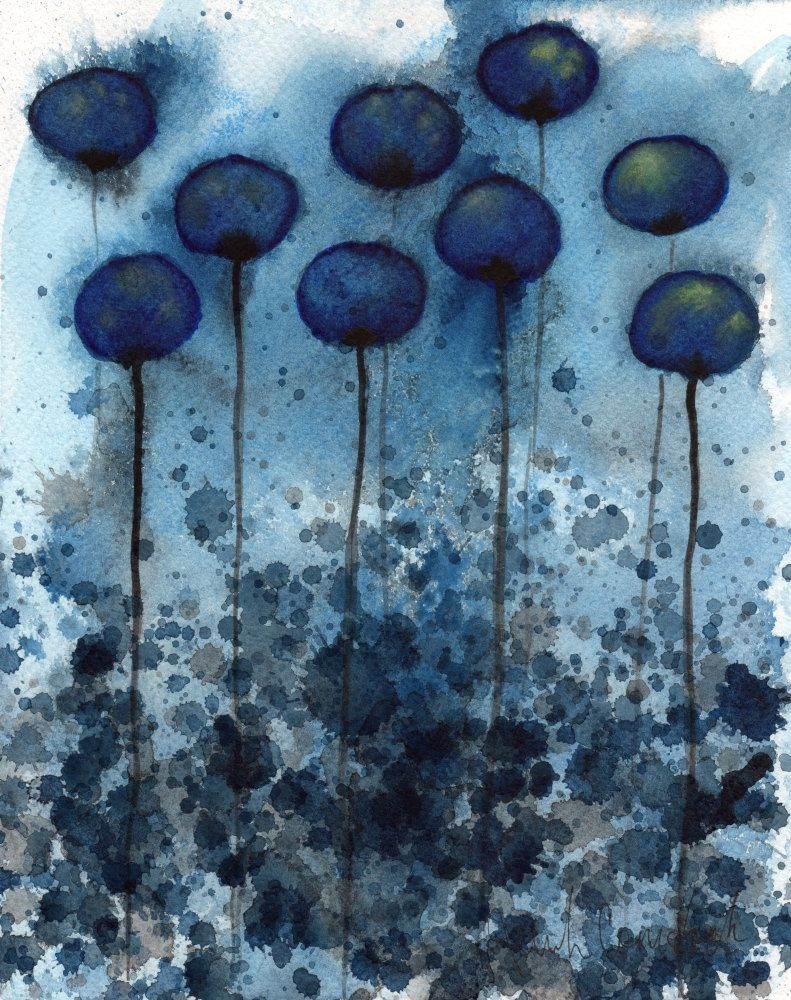 Watercolor painting watercolor flower painting art print night garden midnight blue flowers 8x10 giclee fine art print of an original watercolor painting 2000 via etsy izmirmasajfo