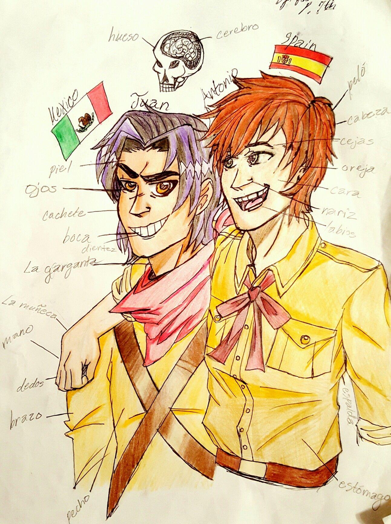 I drew Hetalia Mexico and Spain for my spainish 2 body parts