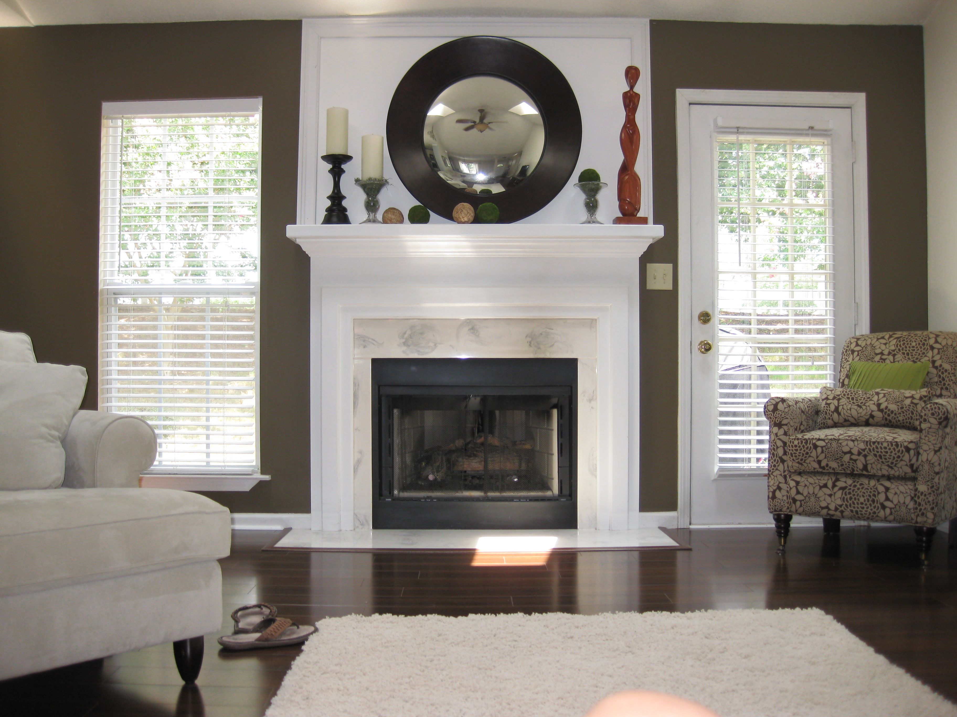 Living Room Remodel Windows On Both Sides Of Fire Place