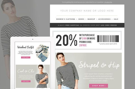 Email Newsletter Fashion Template PSD Ecommerce Newsletter Blast - Email blast templates