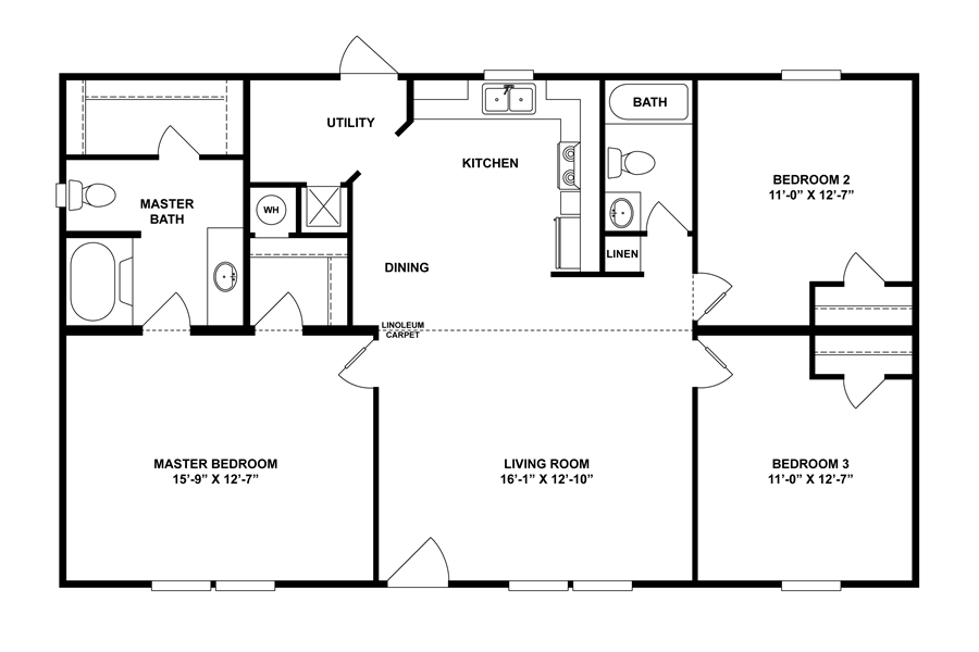 Floorplan Mvp Spec 28x48 44 29mvp28443ah Oakwood