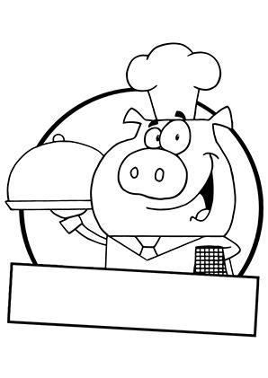 ausmalbild schweinekoch zum kostenlosen ausdrucken und ausmalen für kinder. ausmalbilder |