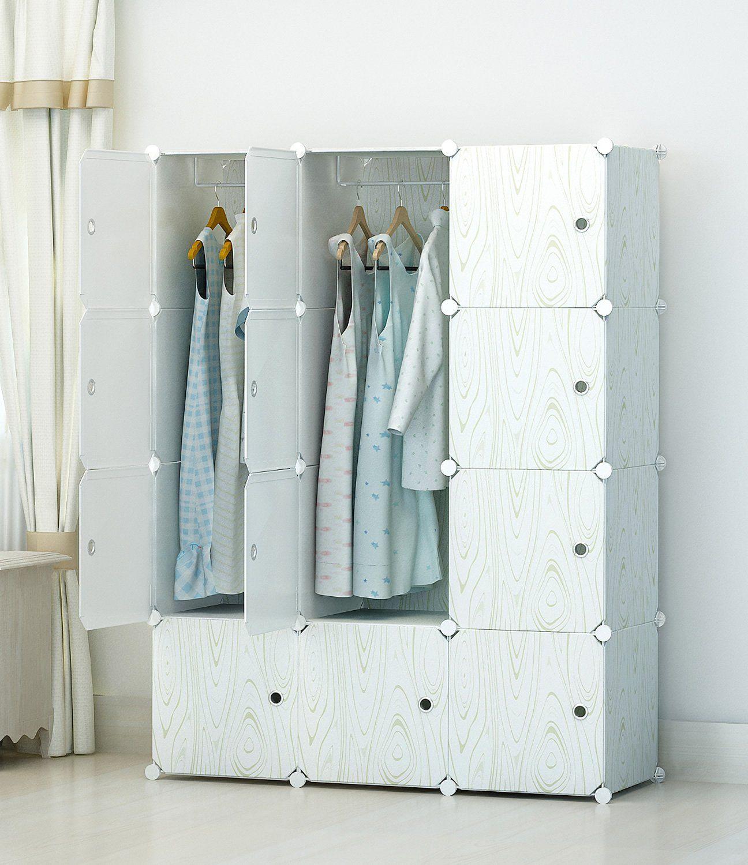 KOUSI Portable Clothes Closet Modular Plastic Wardrobe Freestanding ...