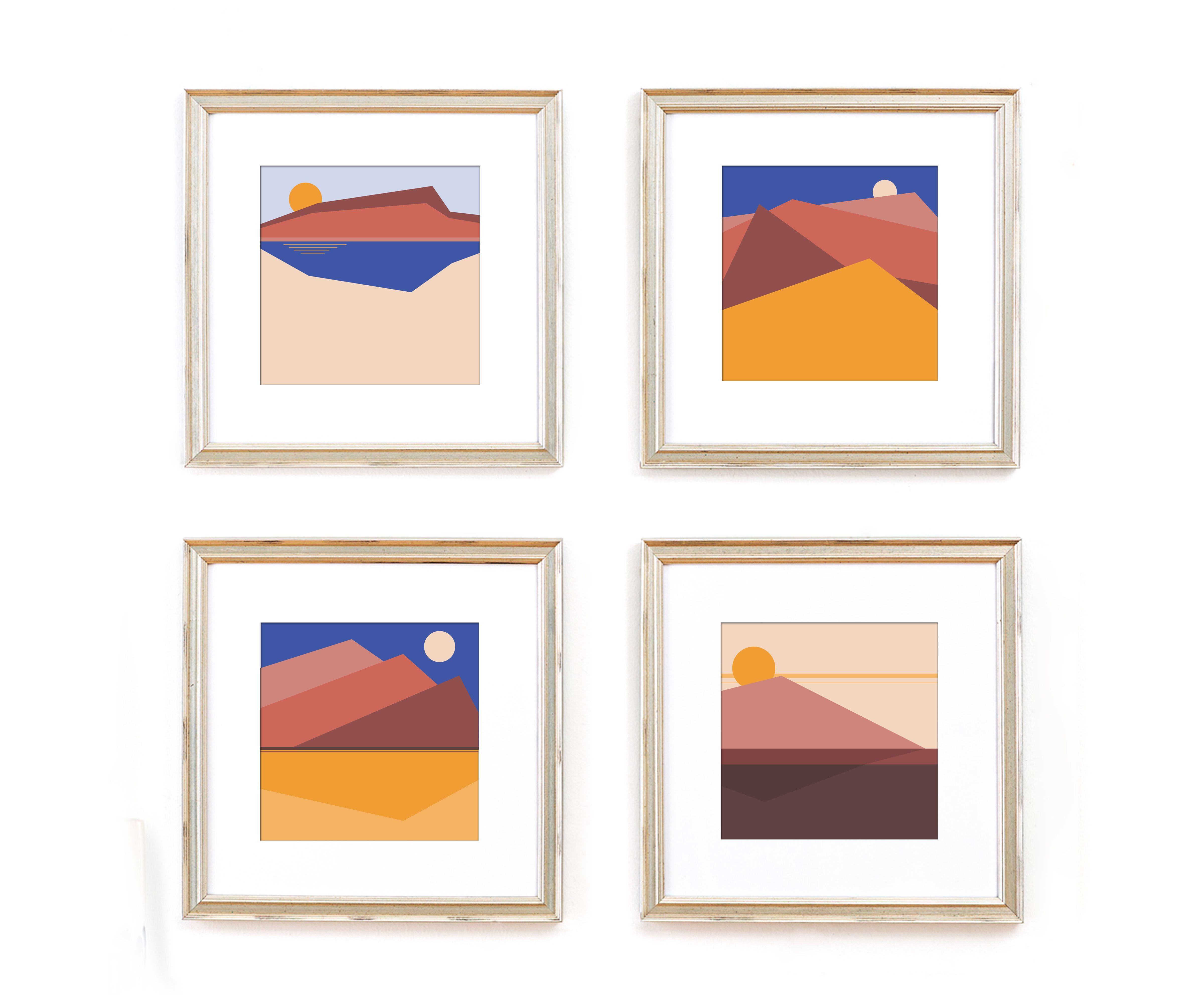 Sunset Mountains Art Sunset Art Geometric Art Modern Landscape Painting
