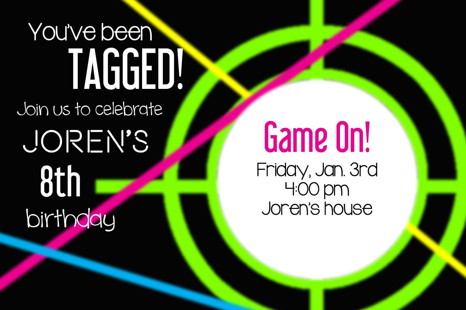 photograph relating to Laser Tag Invitations Free Printable known as Larcie Chicken: Neon Laser Tag Birthday Social gathering Laser Tag