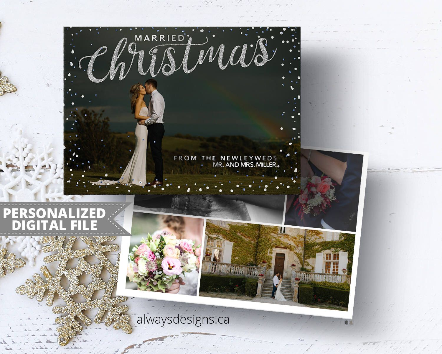 married christmas card just married card photo christmas card
