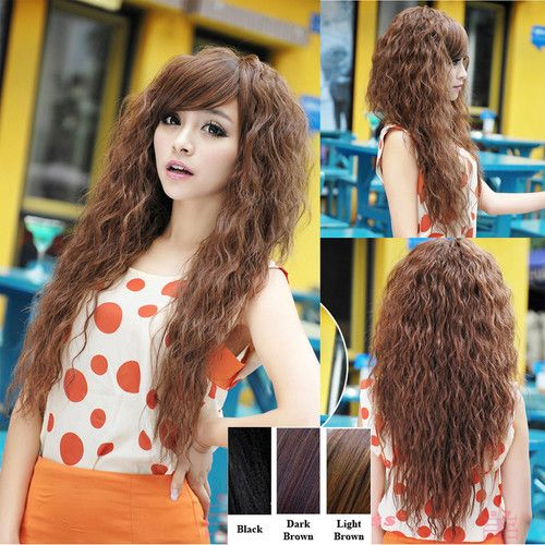how to style a perm long hair light brown womens wavy curly afro corn perm 4136 | b7ef46ec210c24deec41ce30b17cae61