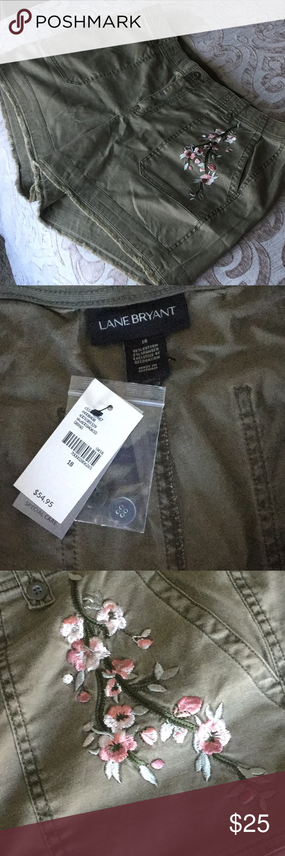 64dd460183cd6 Lane Bryant girlfriend shorts. NWT Really cute. Never worn. Army green. See  matching tee also in my closet Lane Bryant Shorts