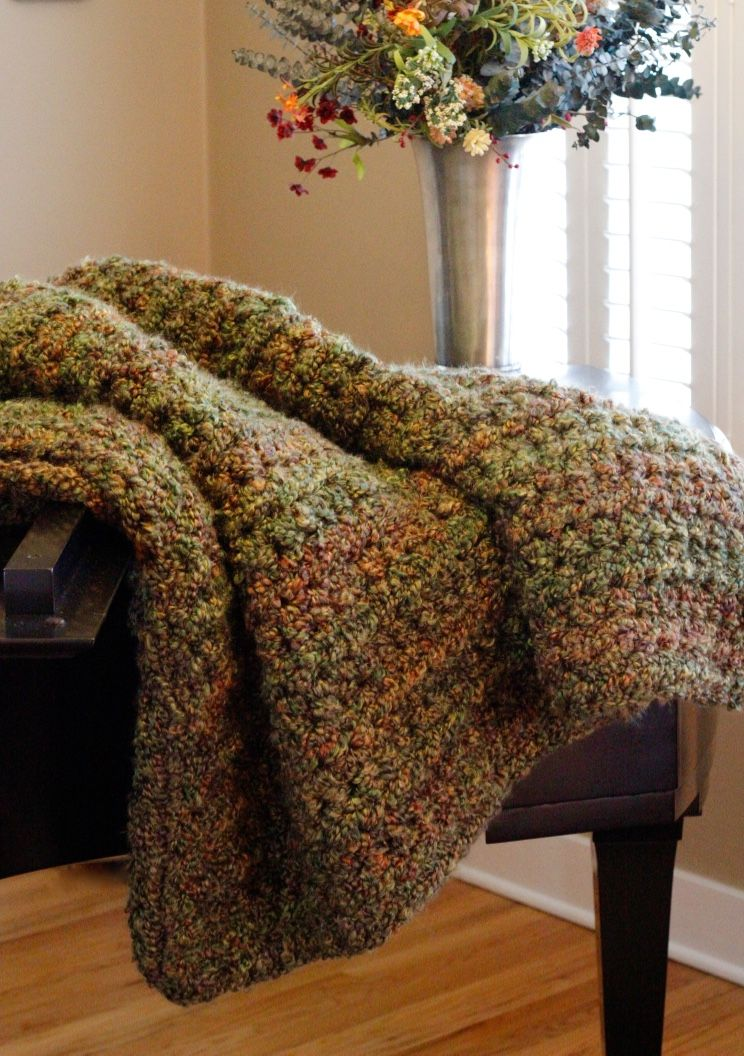 Very Large Crocheted Throw Herb Garden Homespun Thick And Quick