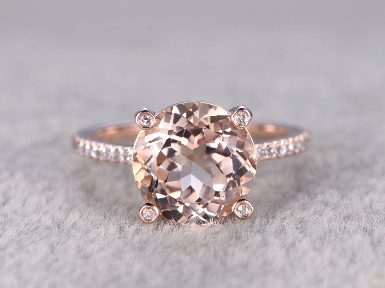 Morganite Engagement ring Rose gold,Diamond wedding band,14k,9mm ...