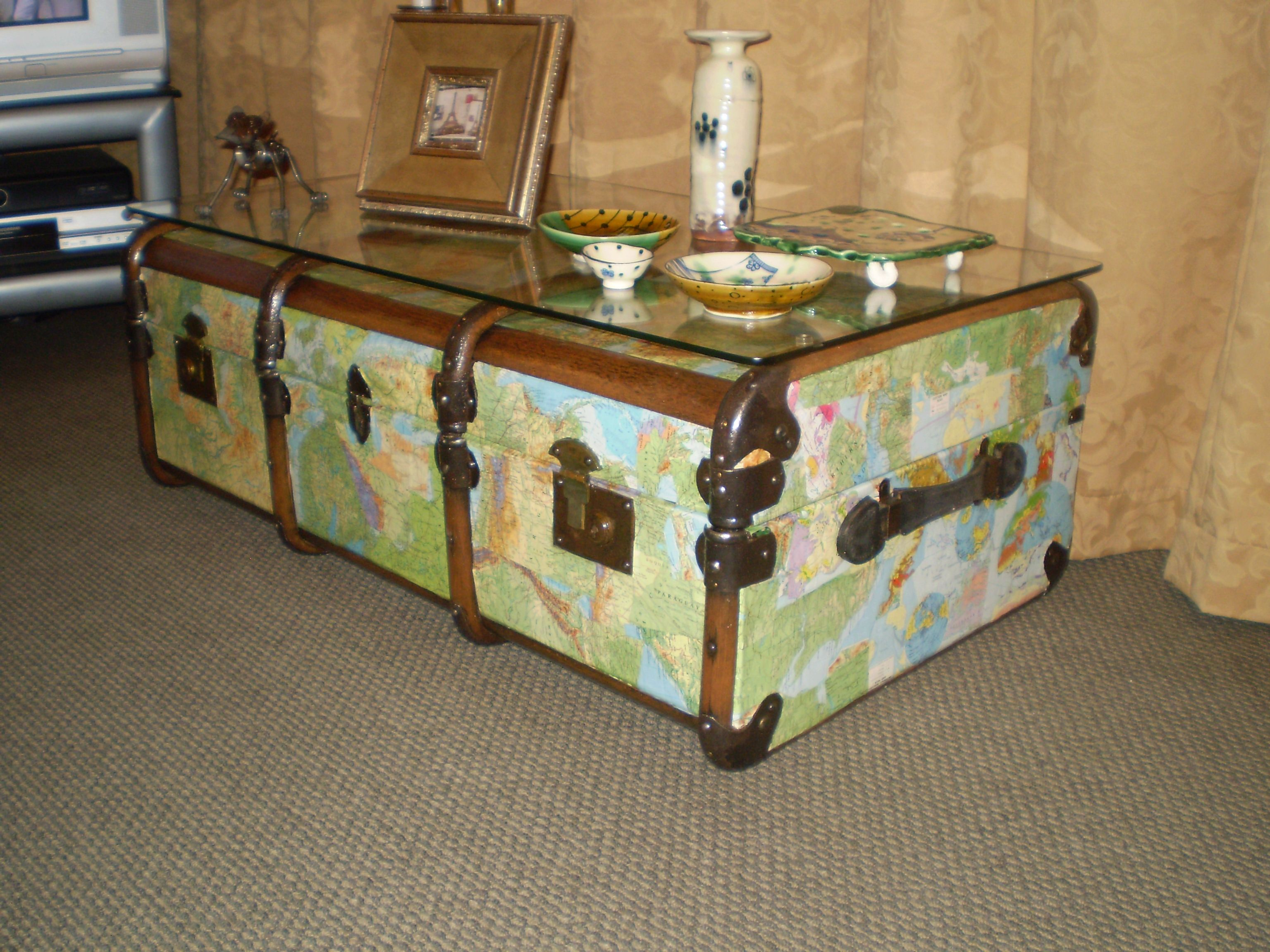 Antique trunk coffee table map decoupage pekapeka studios antique trunk coffee table map decoupage geotapseo Gallery