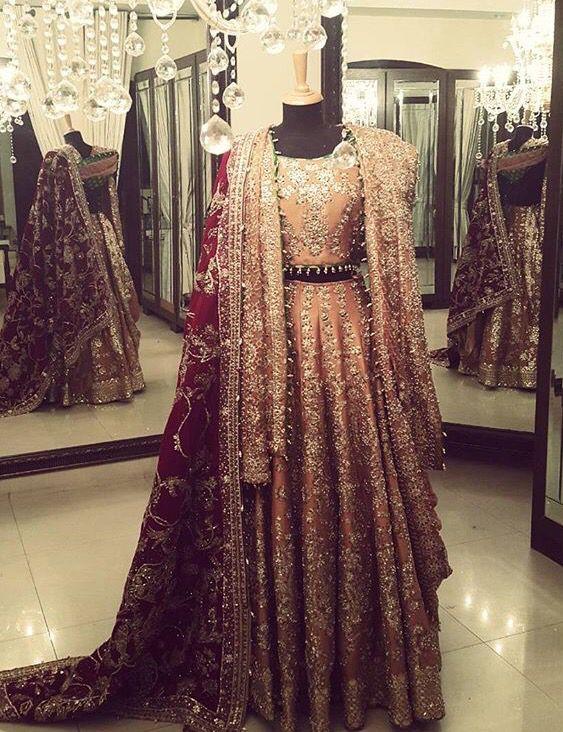 Indian Bridal Lehenga Choli   Coral Pink & Red    Mesmerezing Couture Work