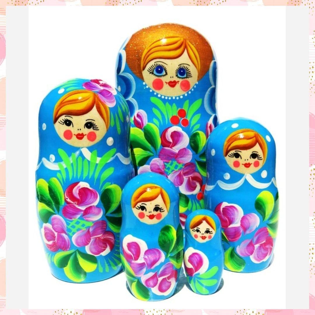 Iris Turquoise 5 Piece Nesting Doll