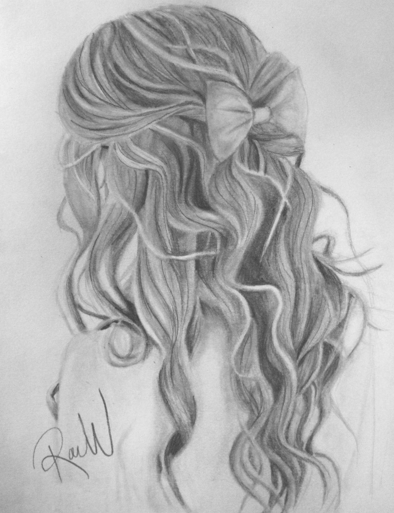 Black And White Hair Sketche Sketches Hair Sketch Drawings