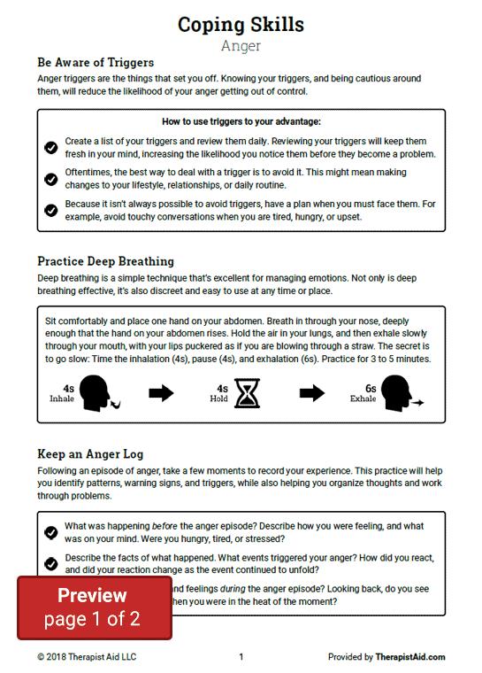 Coping Skills Anger Worksheet