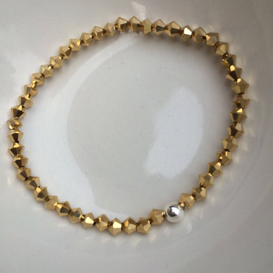 Gold Swarovski Crystal Stretch Bracelet Sterling Silver Or Fill Bead Small Tiny Jewelry Jewellery