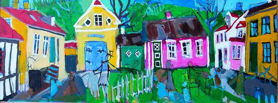 Anette Andersen,Malerier,Skæve Huse,Farverige,Koloristisk,Godt HumørAnette Andersen