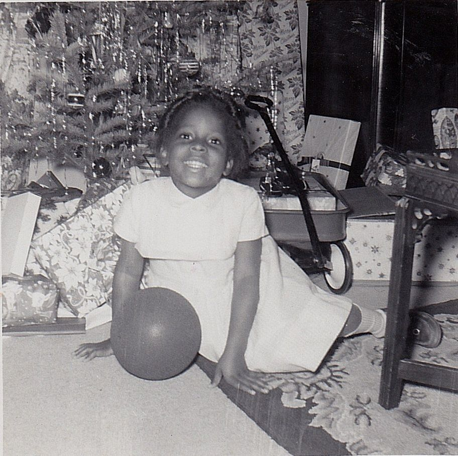 Vintage Antique Photograph Cute African American Girl By Christmas Tree Gifts
