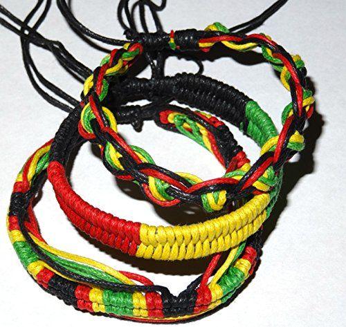 Bracelet Brésilien Amitié coton macramé Bonheur jaune rouge rasta reggae