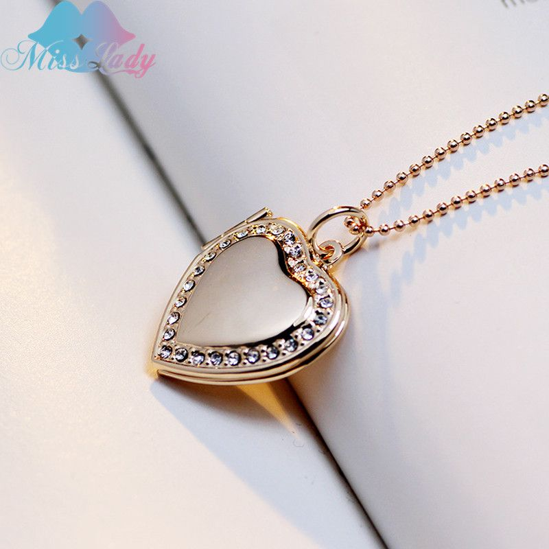 Miss lady trendy crystal love locket pendant necklace photo frame miss lady trendy crystal love locket pendant necklace photo frame pendant gold silver heart jewelry necklace mozeypictures Images