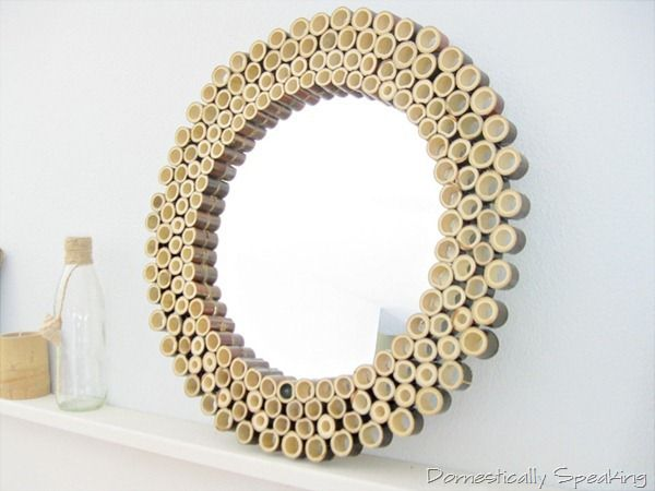 Adoring this DIY Bamboo Sunburst Mirror - Beautiful handmade home decor from @Domestically Speaking