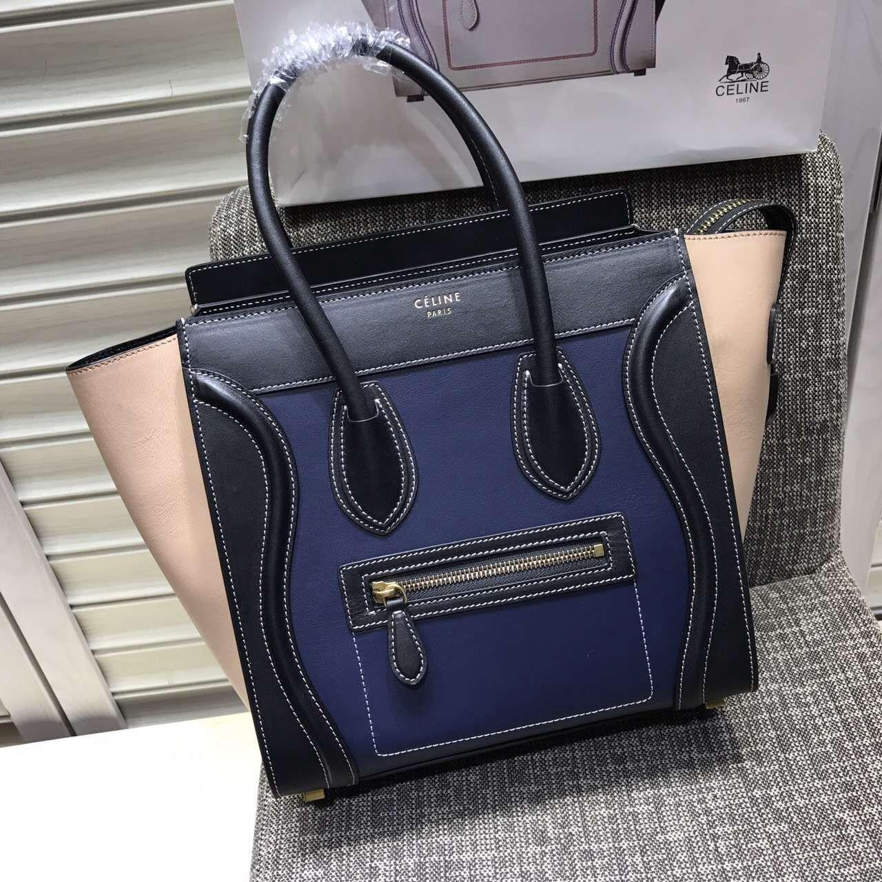 Celine Micro Luggage Handbag In Smooth Calfskin Black Navy Cameo 2016 93f6b3ae41d17