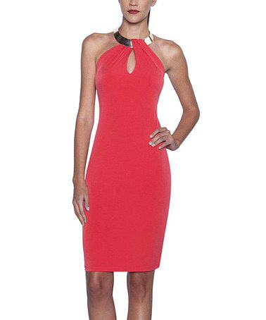 Look what I found on #zulily! Coral Silvertone-Necklace Halter Dress by Elfe #zulilyfinds
