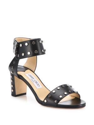 099520190487 JIMMY CHOO Veto 65 Studded Leather Block Heel Sandals.  jimmychoo  shoes   sandals
