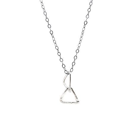 Interlinked Triangle Necklace On Delicate Oxidised Chain